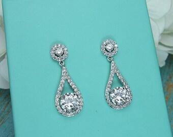 CZ earrings, round cubic zirconia CZ jewelry, wedding earrings, bridal jewelry, wedding earrings, bridesmaid jewelry, earrings 210692591