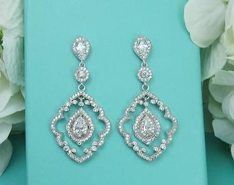 CZ Art Deco Chandelier earrings, cubic zirconia earrings, wedding jewelry, bridal jewelry, wedding earrings, dangle bridal earring 214316786
