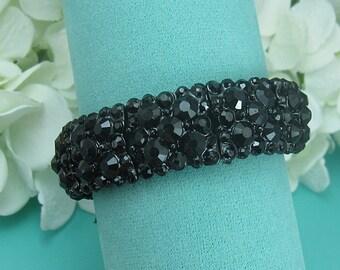 Black Crystal Bracelet, rhinestone bracelet, crystal bracelet, bridal jewelry, wedding accessories, bridesmaid bracelet, crystal wedding