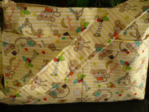 Yellow Monkeys 4-Pocket D-Ring Purse Diaper Bag