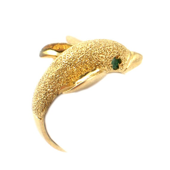 Dolphin Ring in 14K Gold with Emerald Eyes Leaping Dolphin