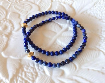 Pair of Beaded Elastic Stretch Gemstone Bracelets: Faceted and Round Lapis (Dark Blue)