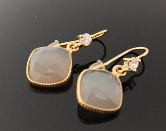 Facetted Grey Moon Stone Earrings //Hand Made//18K Gold Vermeil Over Sterling Silver//Cubic Zirconia