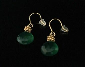 Green Onyx Gold Earrings // 18k Gold  Fill // Emerald Green Briolet