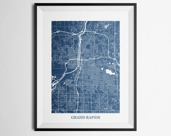 Grand Rapids, Michigan Abstract Street Map Print