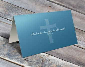 Matthew 5:4 Sympathy Card w/Envelope / Sympathy / Funeral Card / Thinking of You / Bereavement Card / Blank Note Card