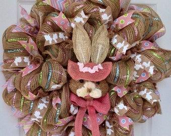 Easter Bunny Bonnet Deco Mesh Wreath