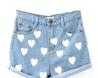 High waisted denim shorts with hearts