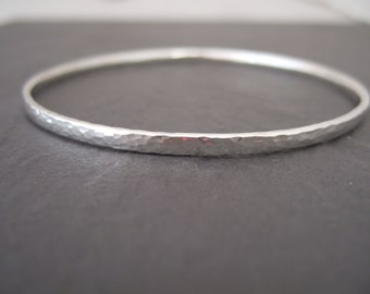 Sterling silver bangle with a hammered finish