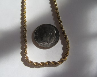 rope necklace  16''  shiny  gold tone