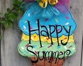Happy summer, welcome summer, summer fun, summer door ice cream cone hanger