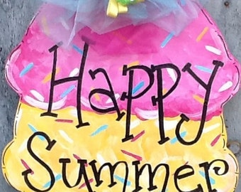 Happy summer sign, welcome summer sign, sweet summer door hanger, happy summer door sign, happy summer door hanger, summer door hanger