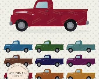 Premium Old Pickup Trucks Clip Art - Truck Clipart, Truck Clip Art, Truck Vector, Vector Trucks, Pick Up Truck