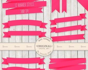 Professional Digital Ribbon Banners - Hot Pink Banners, Hot Pink Ribbon, Digital Banners, Scrapbook Banners, Banner Clip Art, Banner Vectors