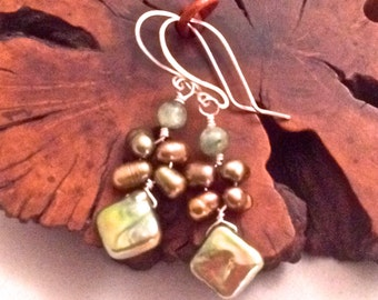 Diamond Shaped Freshwater Pearl Earrings with Mabe Pearls and Green Kyanite Beads