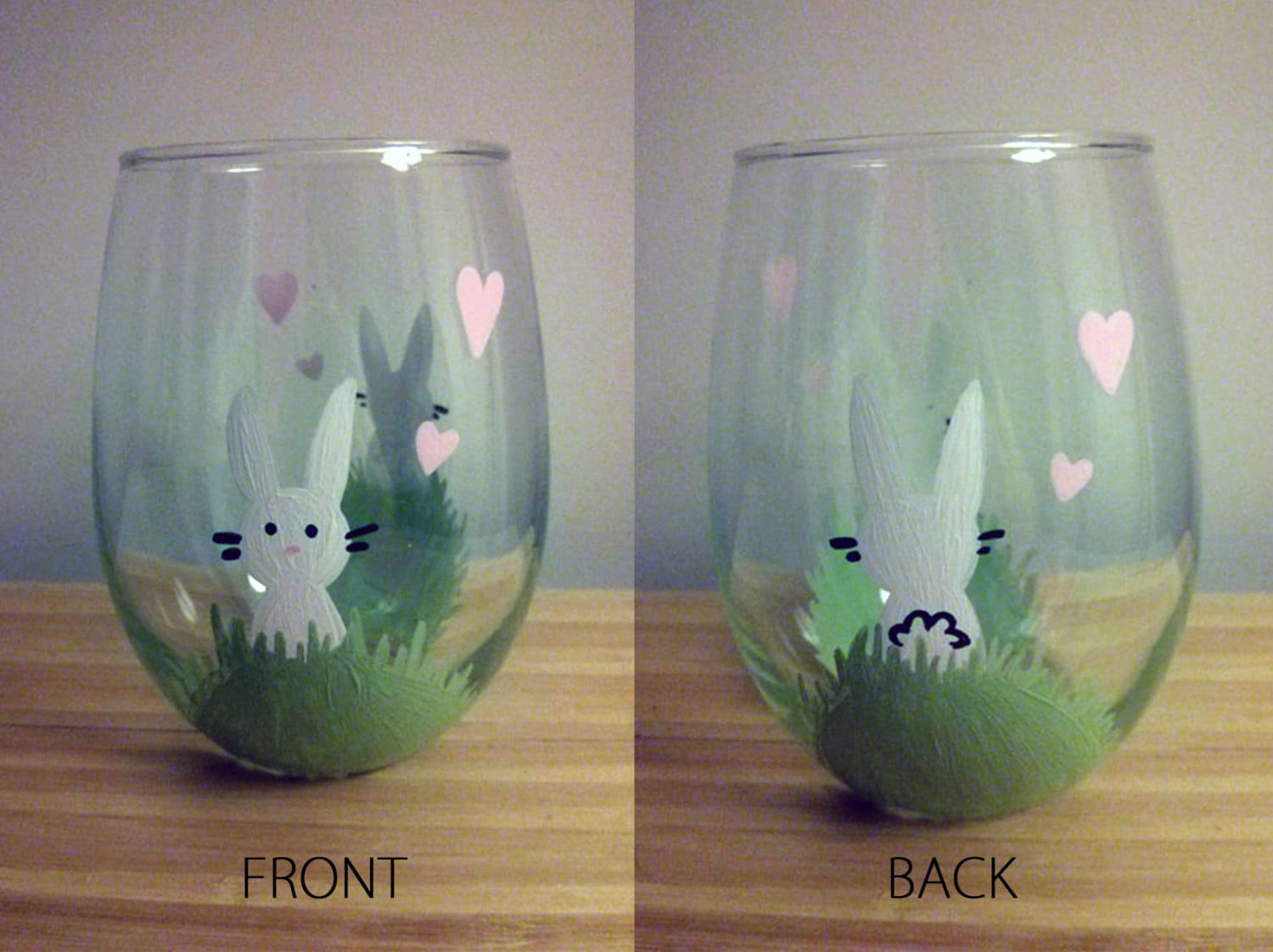 hoppy bunny hand painted wine glass. Black Bedroom Furniture Sets. Home Design Ideas