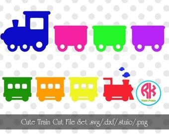 Cute Train Cut Files Set .PNG, .DXF, .SVG