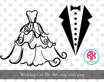 Wedding Cut Files Set .PNG, .DXF, .SVG