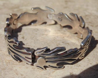 Taxco Sterling Silver Flame Link Bracelet with Push Clasp