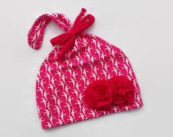 Baby Girl Beanie, Pink Beanie, Cotton Beanie, Spring Cotton Beanie