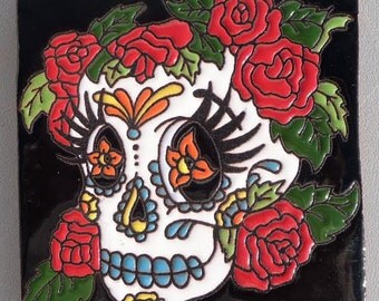 "Talavera pottery Day of the Dead Rose Skull Hi RELIEF Mexico 4"" X 4"""