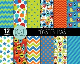 Monster Digital paper, Monsters Scrapbooking Paper, Party Alien Patterned Paper, Printable Sheets Monster background - BUY 2 GET 1 FREE!