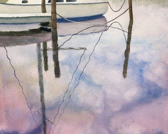 """Matted Water Color Reproduction Print """"Sky Boat II"""""""