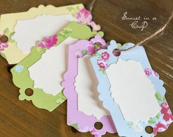 Set of 5 floral labels