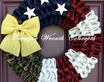 Rustic U.S. Marine Corps Wreath (Woodland)