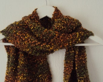 Infinity scarf, long woollen scarf, colour russet, orange, green, golden threads