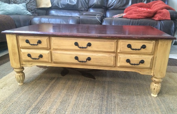Items similar to coffee table hand painted in annie sloan for Chalk paint comparable to annie sloan