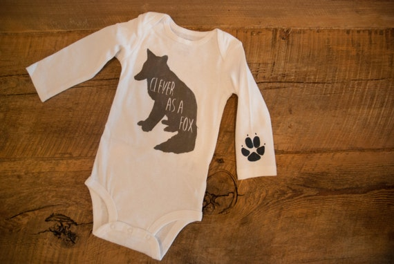 Fox Hand Painted Baby Clothes Clever as a fox by