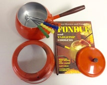 Groovy Fondue Pot-Retro 1970's Orange Enamel Includes Forks and Cookbook