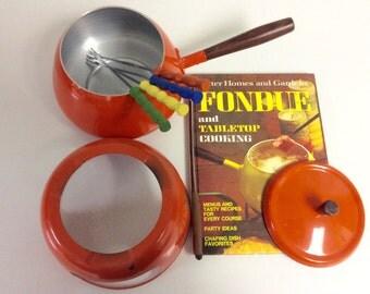 Groovy Fondue Pot-Retro 1970's Orange Enamel Includes Forks and Cookbook