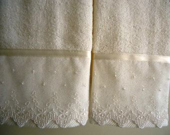 LACE FINGERTIP or GUEST Towels (2) Ivory Cotton Velour New custom-embellished