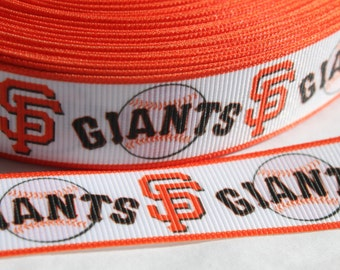 SF Giants Baseball 7/8 inch Grosgrain Ribbon by the Yard for Hairbows, Scrapbooking, and More!!