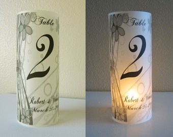 12 Personalized Wedding Centerpiece luminary Flower Table Number Decoration