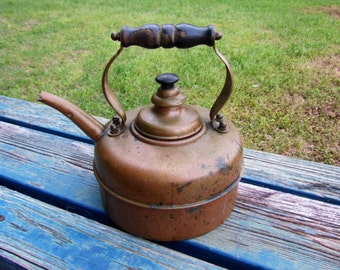 Antique Simplex Copper Whistling Kettle - Made in England / Tea Pot