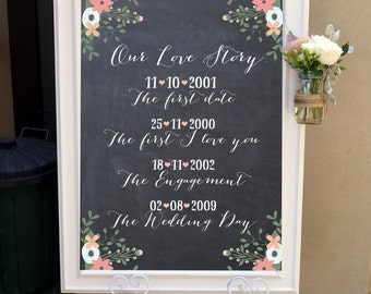 Our Love Story Calligraphy Wedding Sign / Rustic Chalkboard Welcome Sign / Vintage Floral Chalkboard Wedding / Custom Printable (WED006)