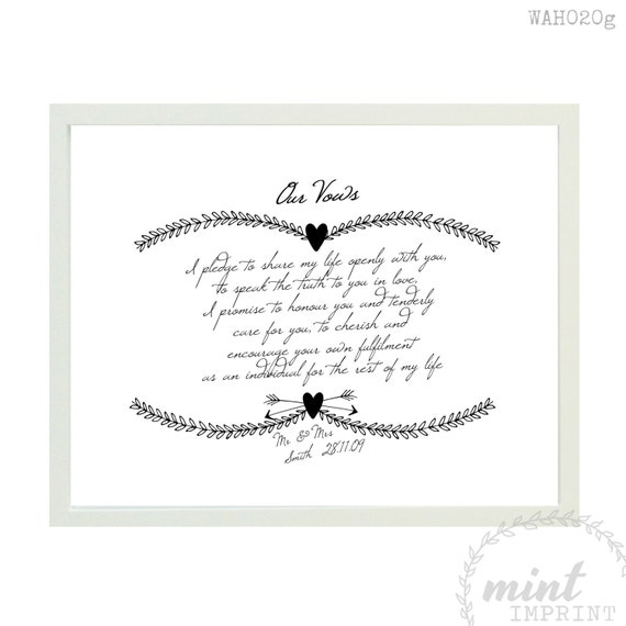 Personalised Wedding Gifts For Bride And Groom Australia : Print / Bride and Groom Wedding Vows Prints / Wedding Sign / Wife Gift ...