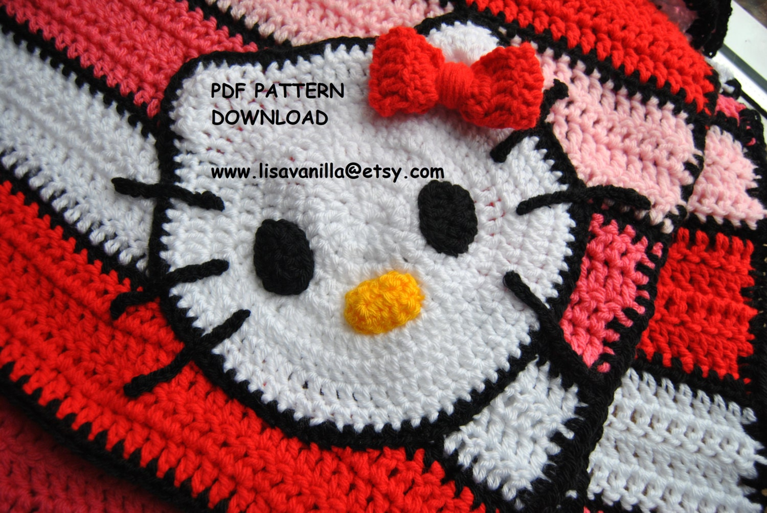 Hello Kitty Blanket Pattern/ crochet pattern/PDF download/ from LisaVanilLA o...