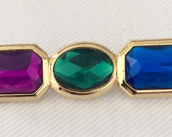 Vintage Purple, Green and Blue Rhinestone Bar  Pin - Bride, Wedding, Mother of the Bride, Bridesmaids Brooch