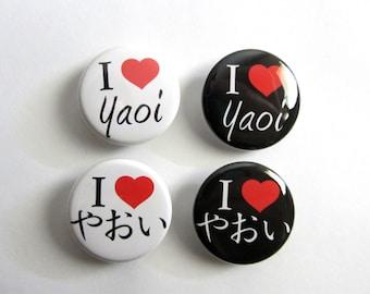 "I love (Heart) Yaoi English Japanese 1.25"" or 2.25"" Pinback Button"