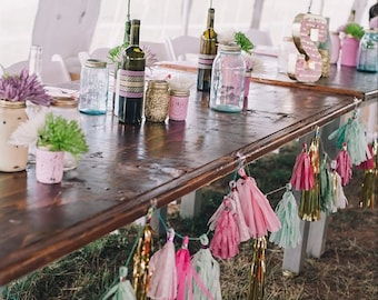 Tissue Paper Tassel Garland, Raspberry Pink Baby Pink Gold Mylar and Mint Green, Paper Garland, Wedding Decorations, Barn Party