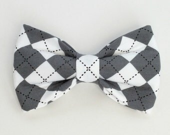 Gray Argyle Dog Bow Tie, pet bow tie, collar bow tie, wedding bow tie