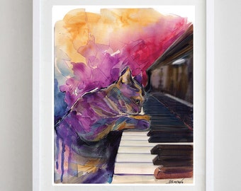 Piano Cat Art Print 8x10 Music Art Print - Fine Art Print - Cat poster  -Music Art - Home Decor