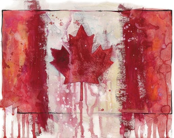 Canadian flag  Watercolor print, Canada flag  Watercolor art from original watercolor painting