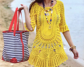 Lovely Tunic Dress Yellow Beach crocheted Hand-Made