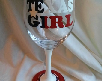 Texas Girl Hand Painted Wine Glass Red White Blue Flag