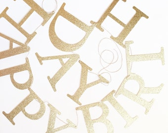 Glitter Gold or Silver 'Happy Birthday' Banner for Party.